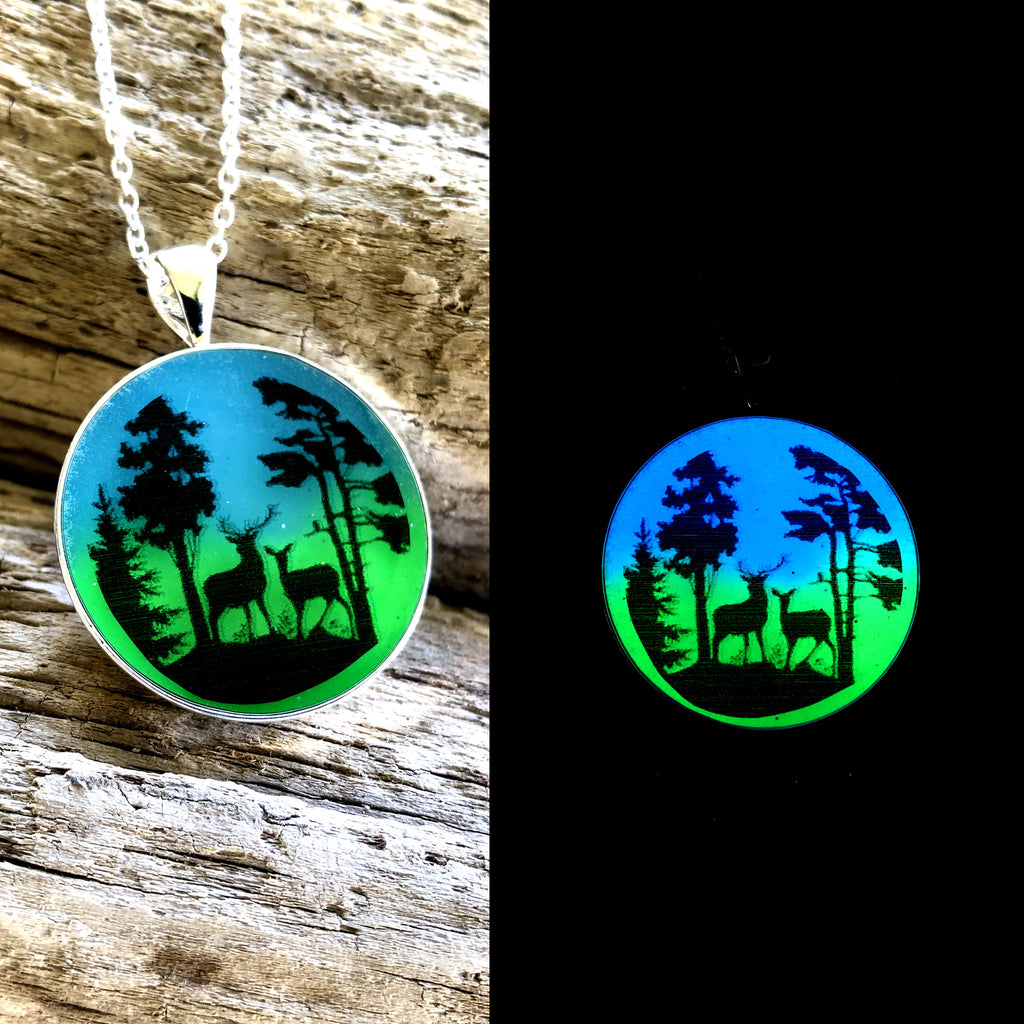 Deer glow in the dark art necklace