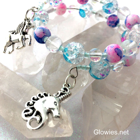 Unicorn Wire Wrap Glow Glass Bracelet