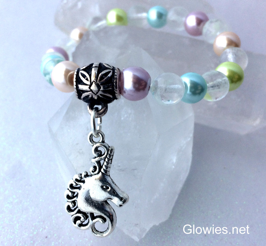 Unicorn Glow in the Dark Glass Pastel Pearls Beaded Stackable Bracelet