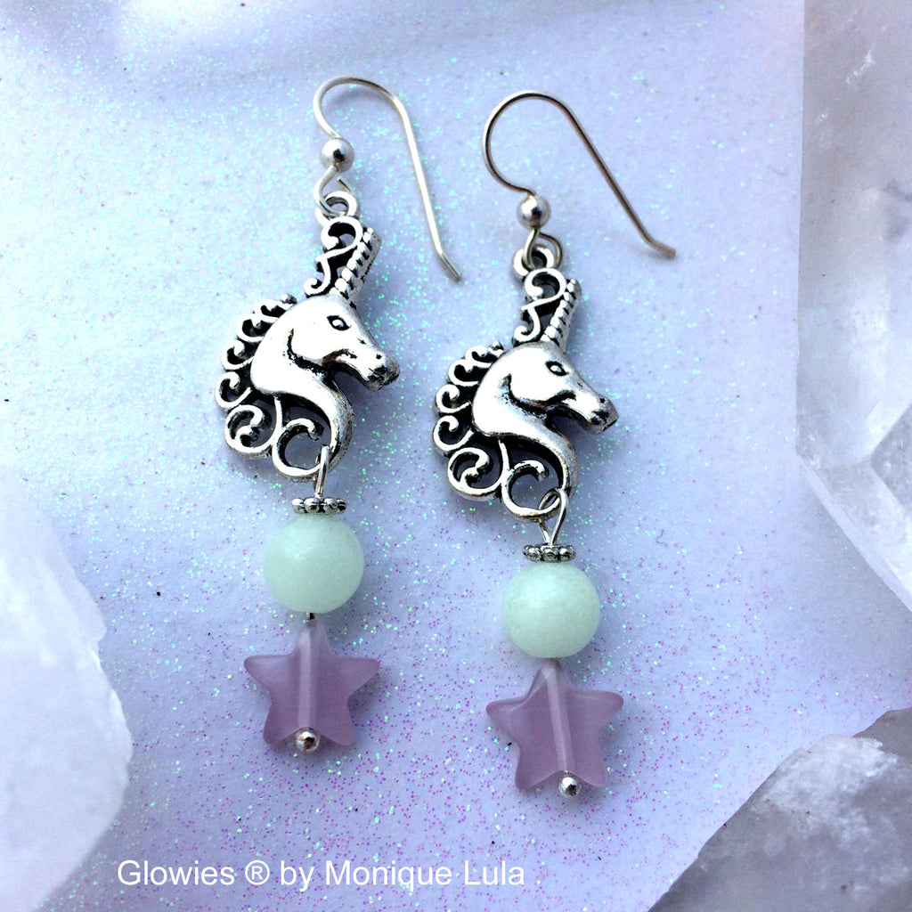 Glow Glass Unicorn Earrings with Stars on Sterling Silver Hooks