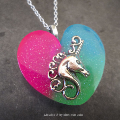 Unicorn Heart Glow in the dark necklace