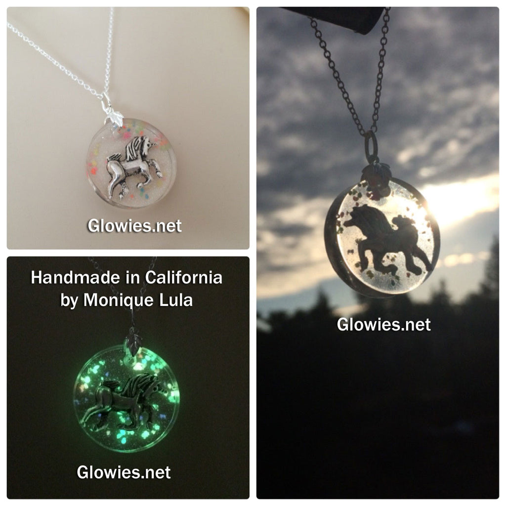 Unicorn Flying Through Rainbow Night Sky Glow Necklace