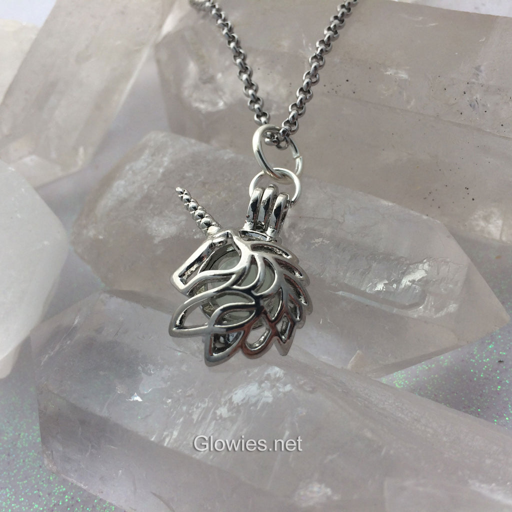 Unicorn Glow Locket Caged Orb Pendant Glowing Necklace
