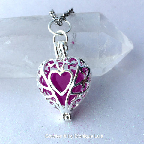Ultra Violet Purple Frozen Glowing Heart Necklace