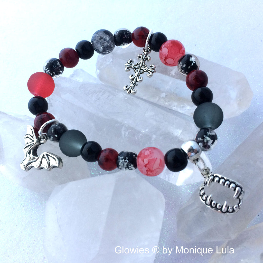 Vampire at Night Glow Glass Bracelet