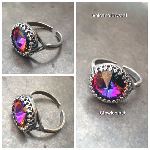 Volcano Crystal Adjustable Victorian Ring