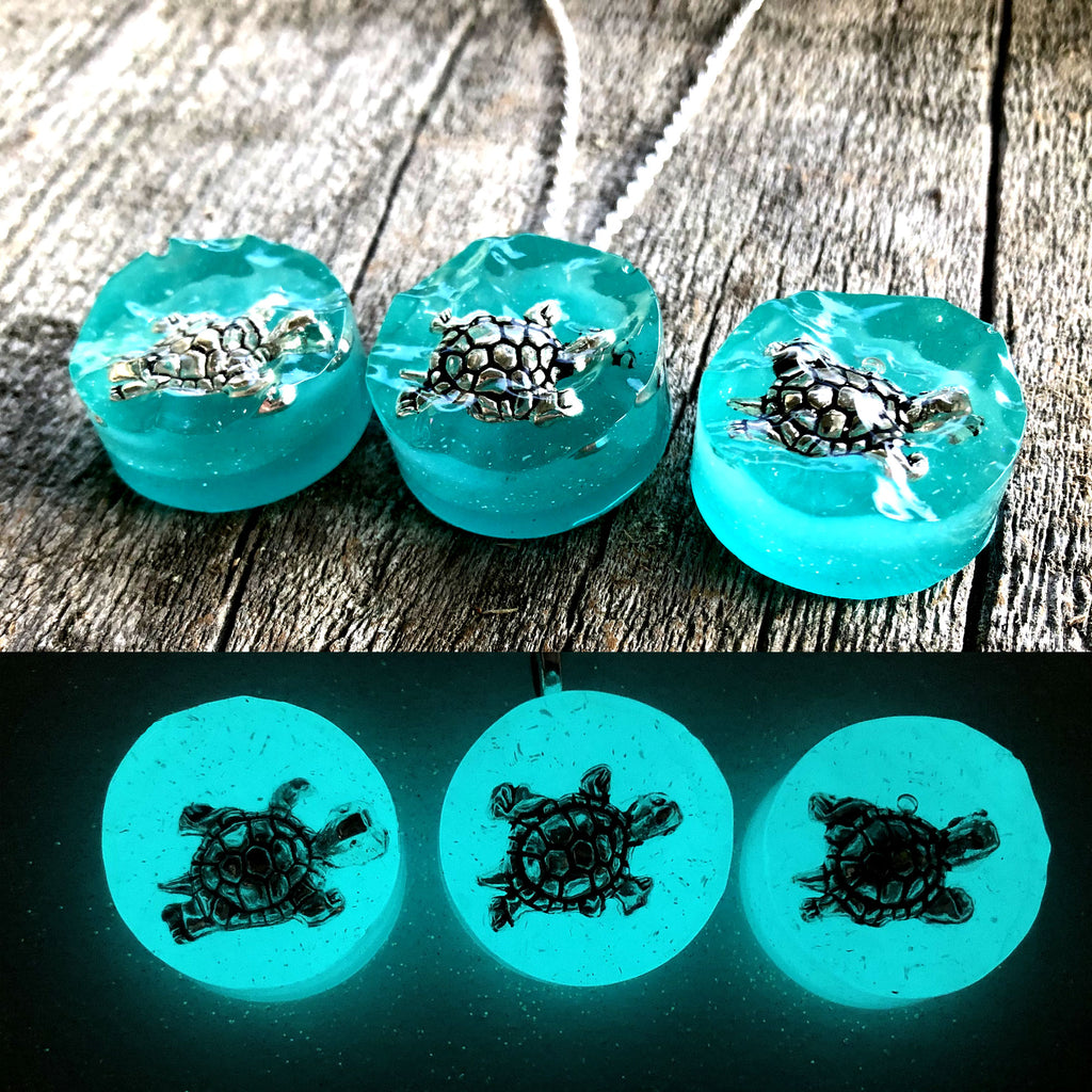 Turtle Swimming in Water Glow Necklace
