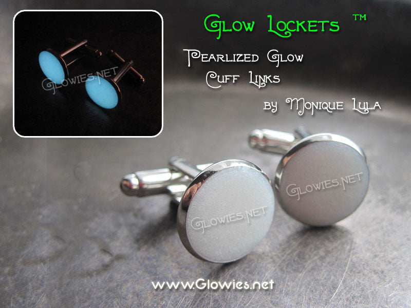 White Pearlescent Glow in the dark Cuff Links