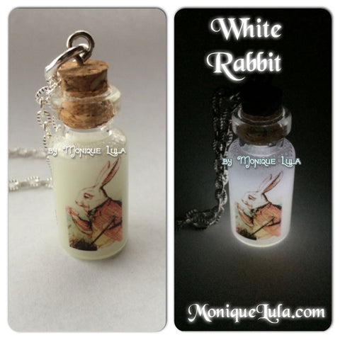 White Rabbit Glowing Bottle Necklace