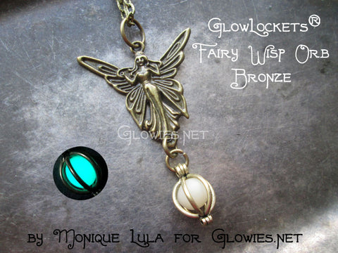 Fairy Wisp Orb Glow Locket Pendant Bronze