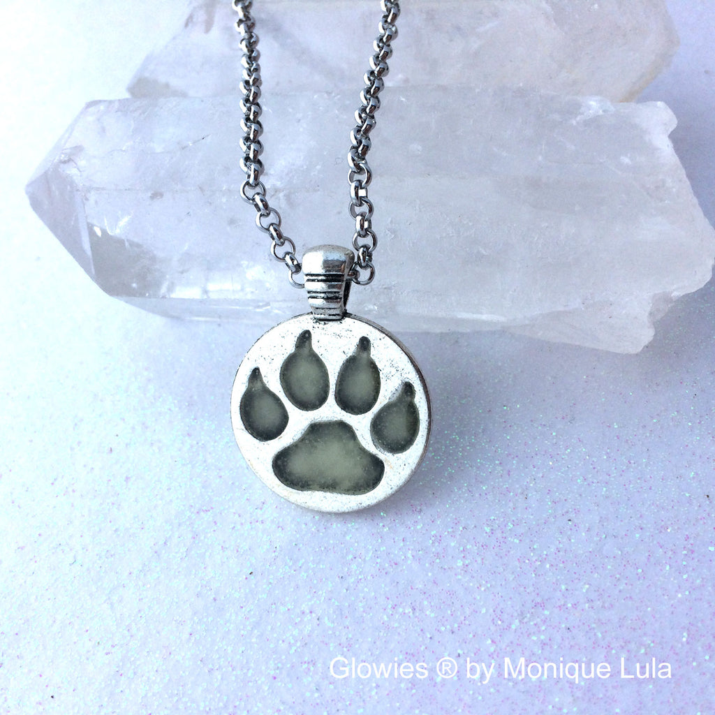 Glowing Wolf Paw Silver Necklace