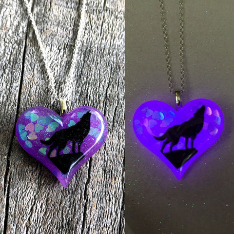 Howling Wolf Glow in the dark Lula Heart Necklace