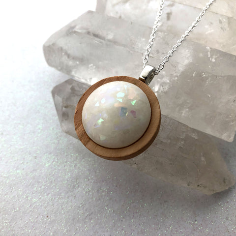Round Wood Opal Glow Stone Necklace