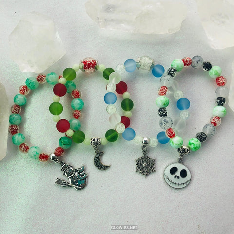 Glow Glass Christmas Stretch Bracelets