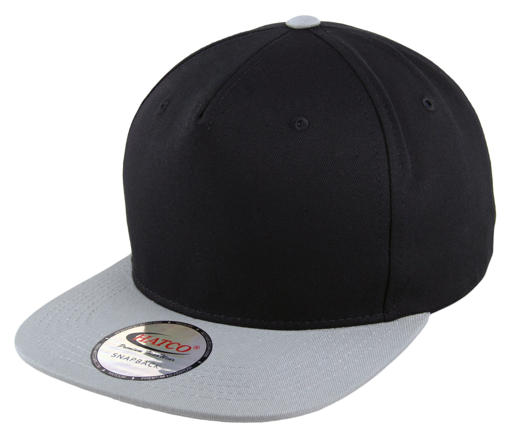 800a3726fda Blank 5 Panel Snapback Cap - Black Light Grey - HATCOcaps.com