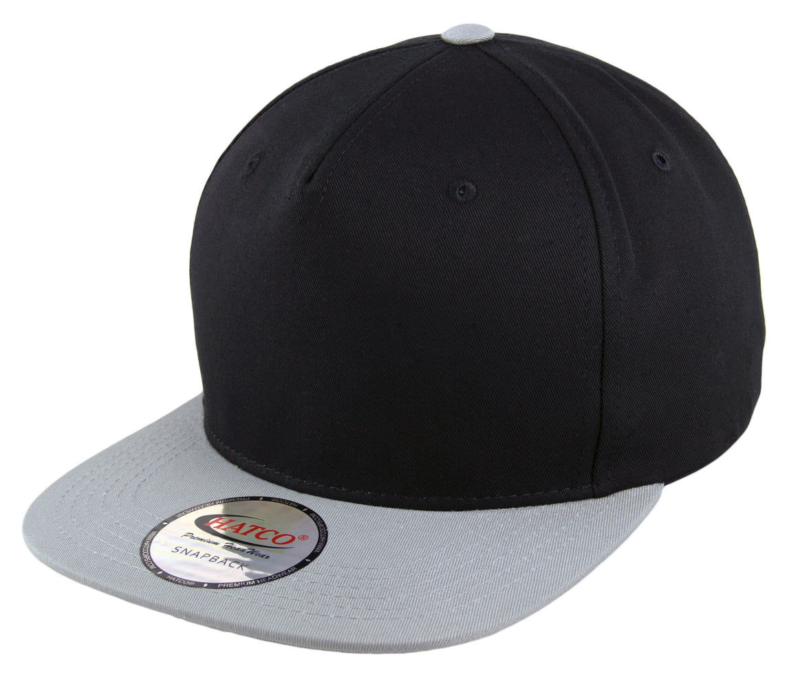 Blank 5 Panel Snapback Cap - Black/Light Grey - HATCOcaps.com