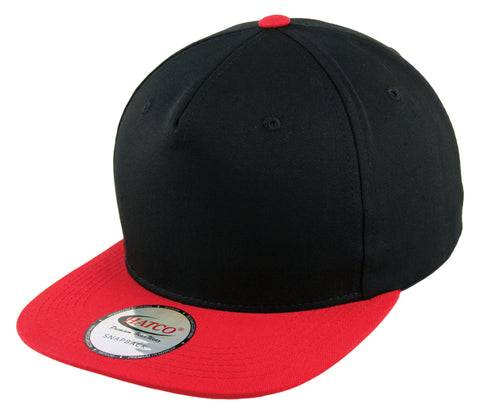 Blank 5 Panel Snapback Cap - Black/Red - HATCOcaps.com