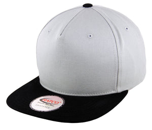 Blank 5 Panel Snapback Cap - Light Grey/Black - HATCOcaps.com
