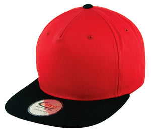Blank 5 Panel Snapback Cap - Red/Black - HATCOcaps.com