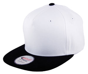 Blank 5 Panel Snapback Cap - White/Black - HATCOcaps.com