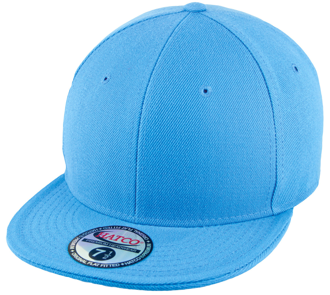 Blank Flat Fitted Cap - Sky Blue - HATCOcaps.com