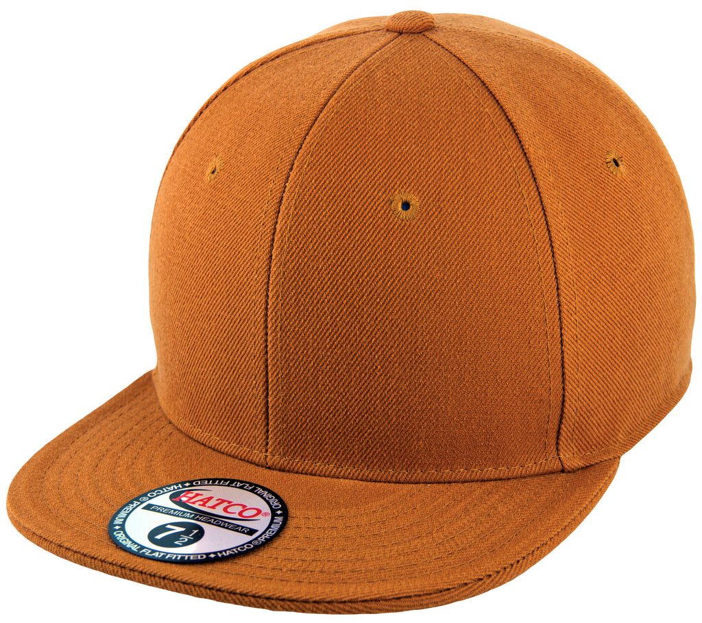 Blank Flat Fitted Cap - Timber - HATCOcaps.com