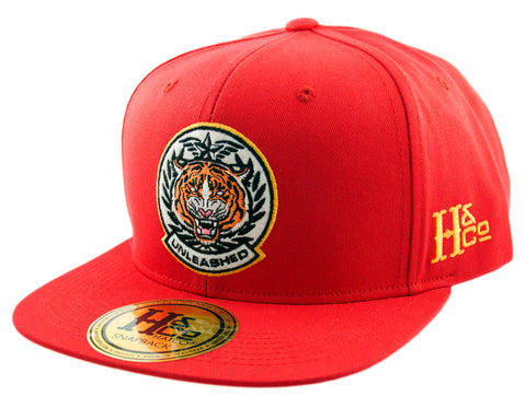 Unleashed Tiger Snapback Cap - Red - HATCOcaps.com  - 1