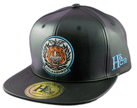 Unleashed Tiger PU Leather Strapback Cap - Black - HATCOcaps.com  - 1