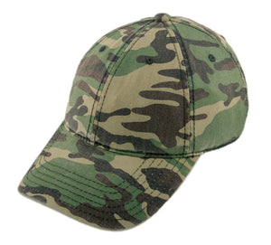 Blank Heavy Washed Cotton Cap - Camo Green