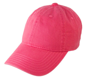Blank Heavy Washed Cotton Cap - Hot Pink