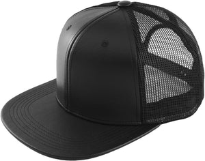 Blank PU Leather Mesh Snapback Caps - HATCOcaps.com  - 4