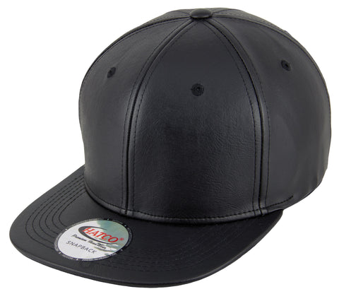 Blank PU Leather Snapback Cap - Black - HATCOcaps.com