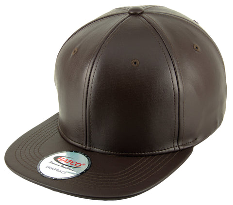 Blank PU Leather Snapback Cap - Brown - HATCOcaps.com  - 1