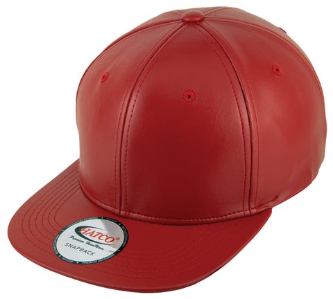 Blank PU Leather Snapback Cap - Red - HATCOcaps.com