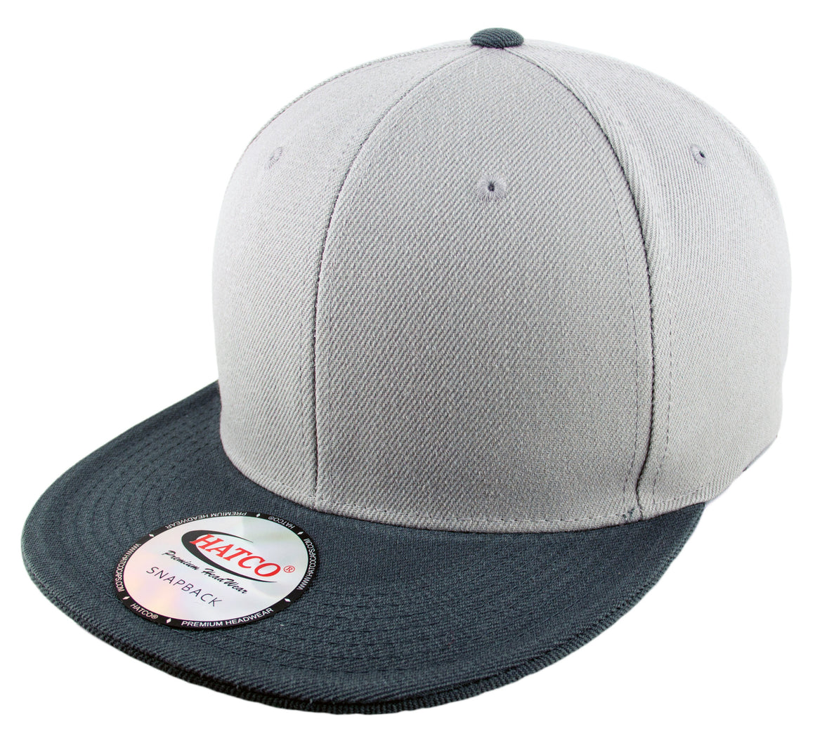 Blank Acrylic Two-Tone Snapback Cap - Light Grey/Anthracite - HATCOcaps.com