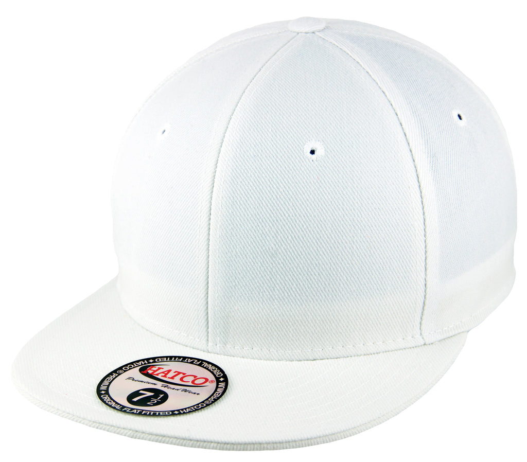 Blank Flat Fitted Cap - White - HATCOcaps.com