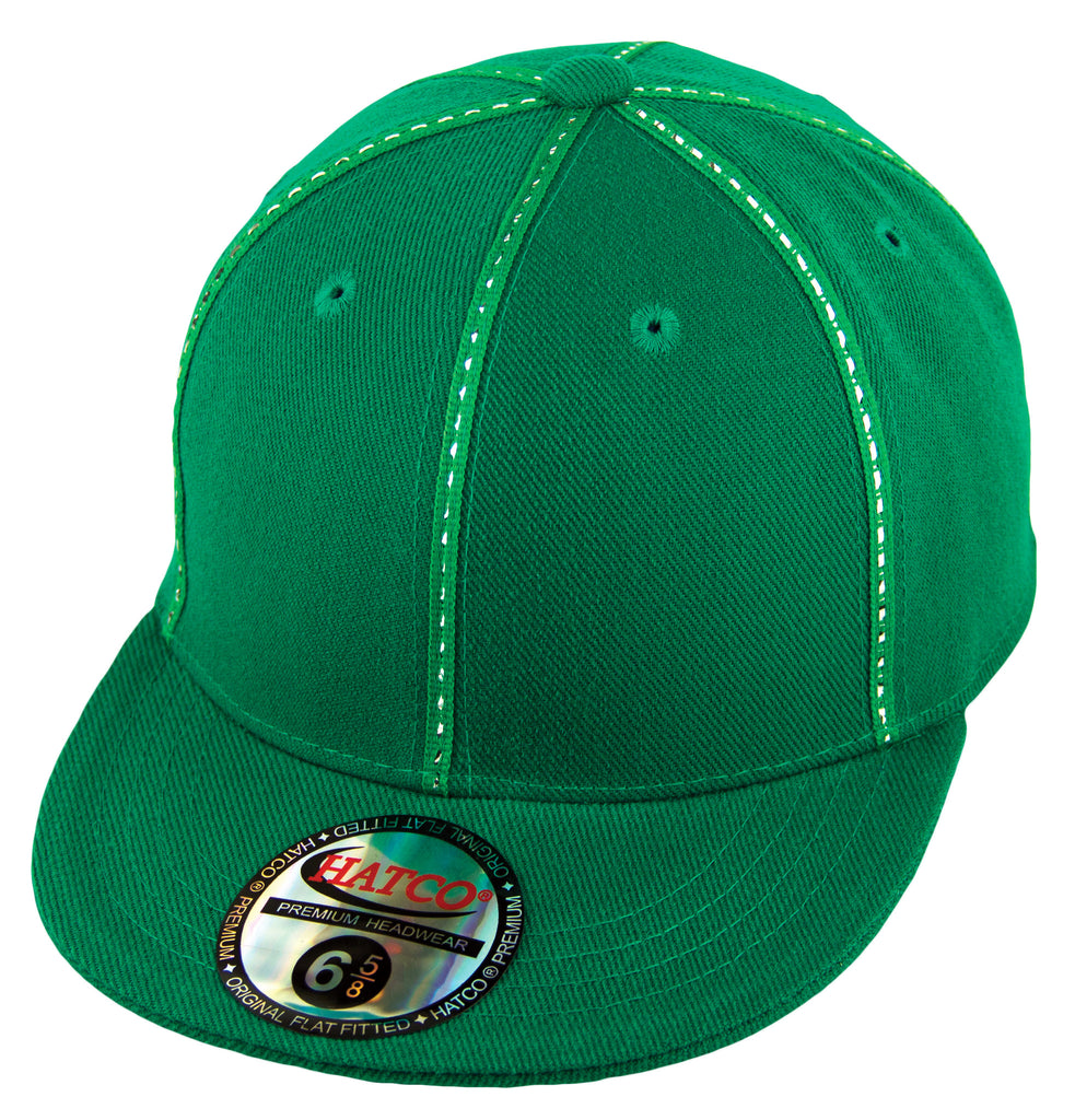 Blank Fitted Metallic Stitch Cap - Kids - Kelly Green - HATCOcaps.com