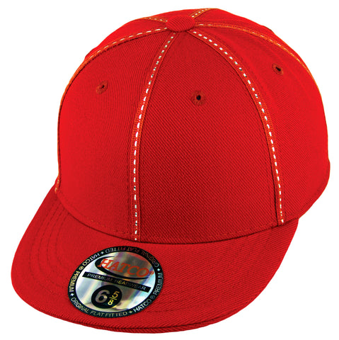 Blank Fitted Metallic Stitch Cap - Kids - Red - HATCOcaps.com