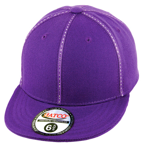 Blank Fitted Metallic Stitch Cap - Kids - Purple - HATCOcaps.com  - 1