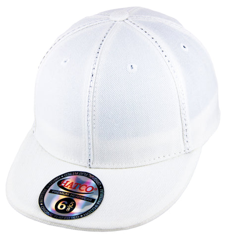Blank Fitted Metallic Stitch - Kid's - White - HATCOcaps.com