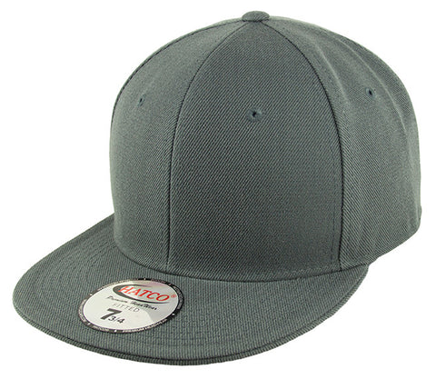 Blank Flat Fitted Cap - Anthracite Grey - HATCOcaps.com