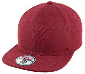 Blank Flat Fitted Cap - Burgundy - HATCOcaps.com