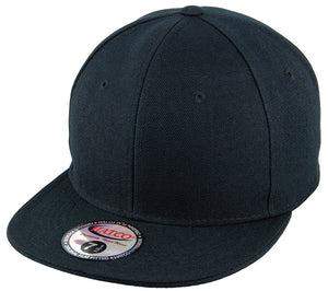 Blank Flat Fitted Cap - Black - HATCOcaps.com