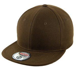 Blank Flat Fitted Cap - Brown - HATCOcaps.com