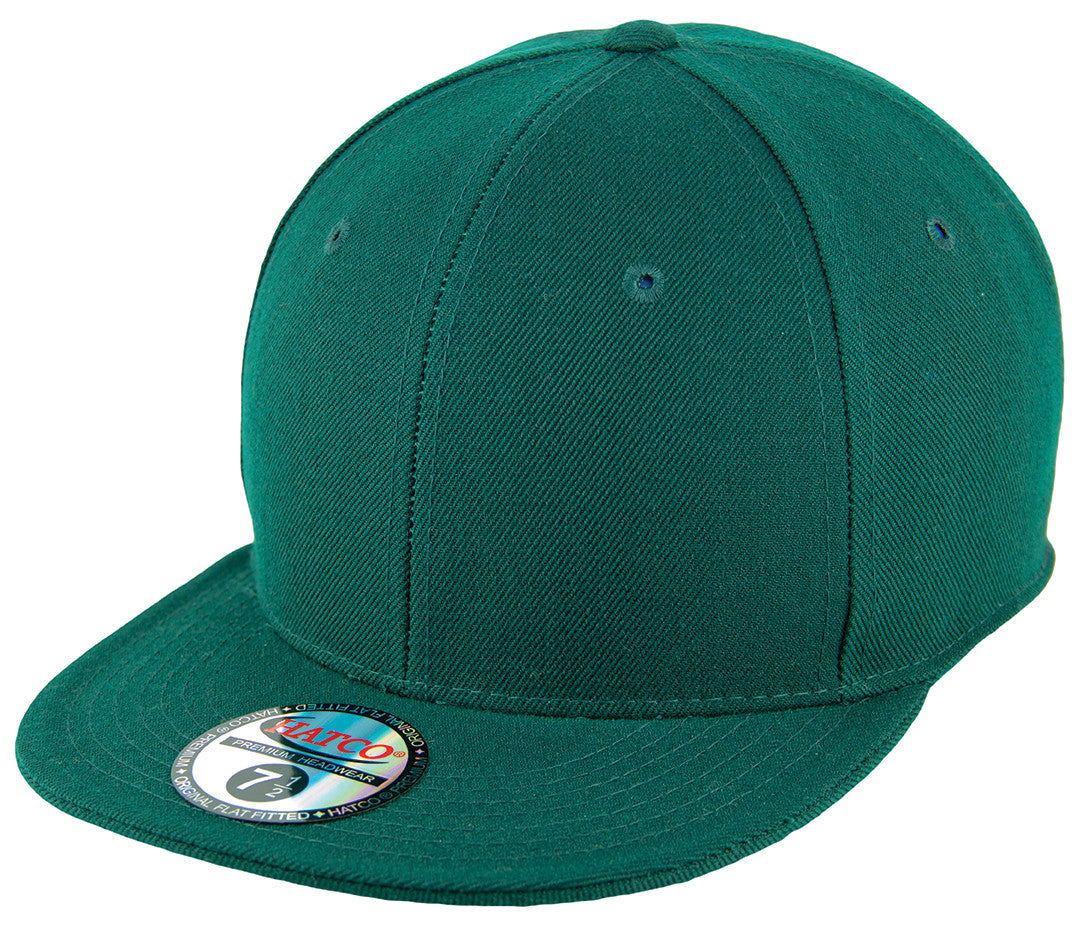 Blank Flat Fitted Cap - Hunter Green - HATCOcaps.com
