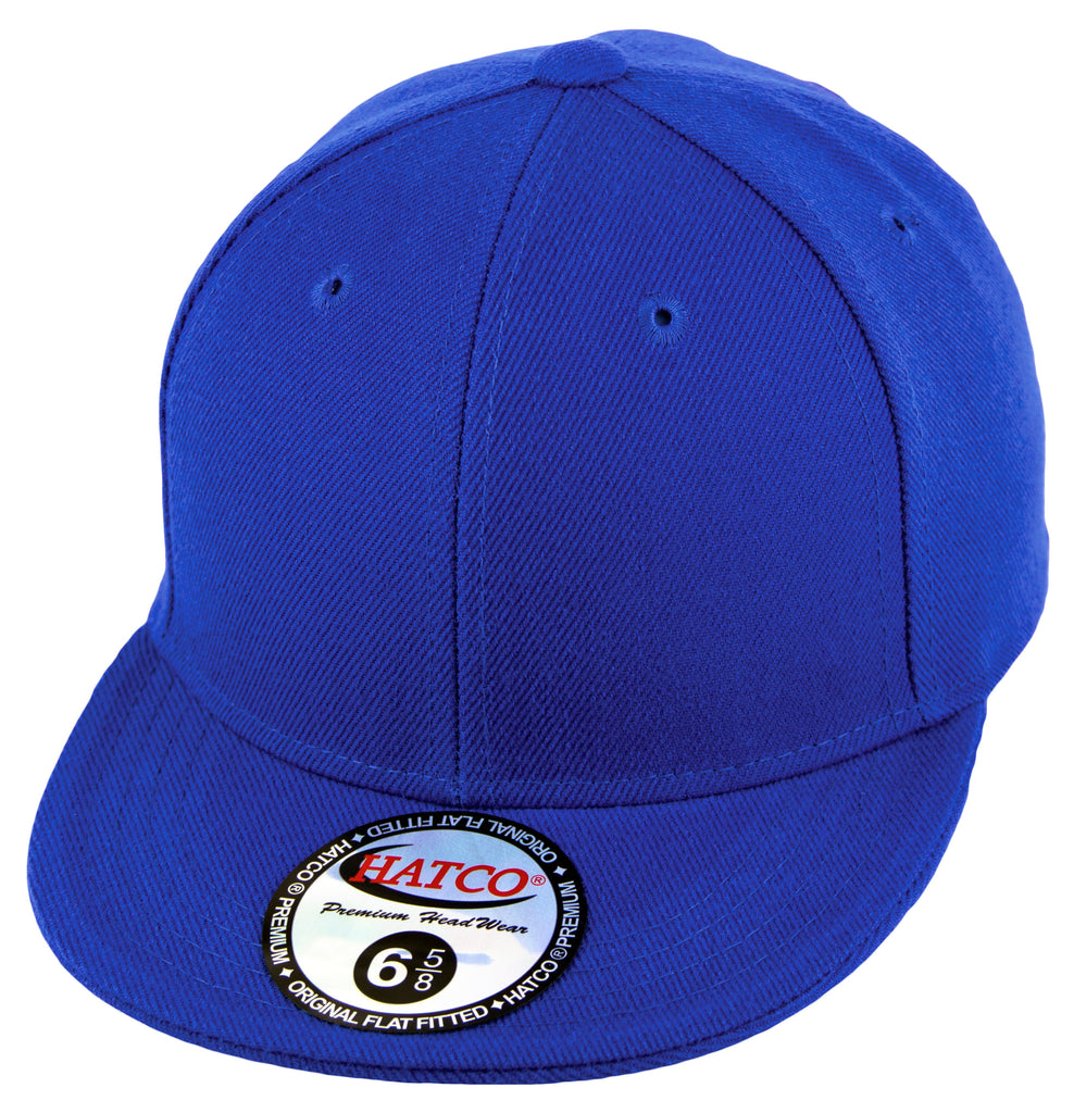 Blank Flat Fitted Cap - Kids - Royal - HATCOcaps.com