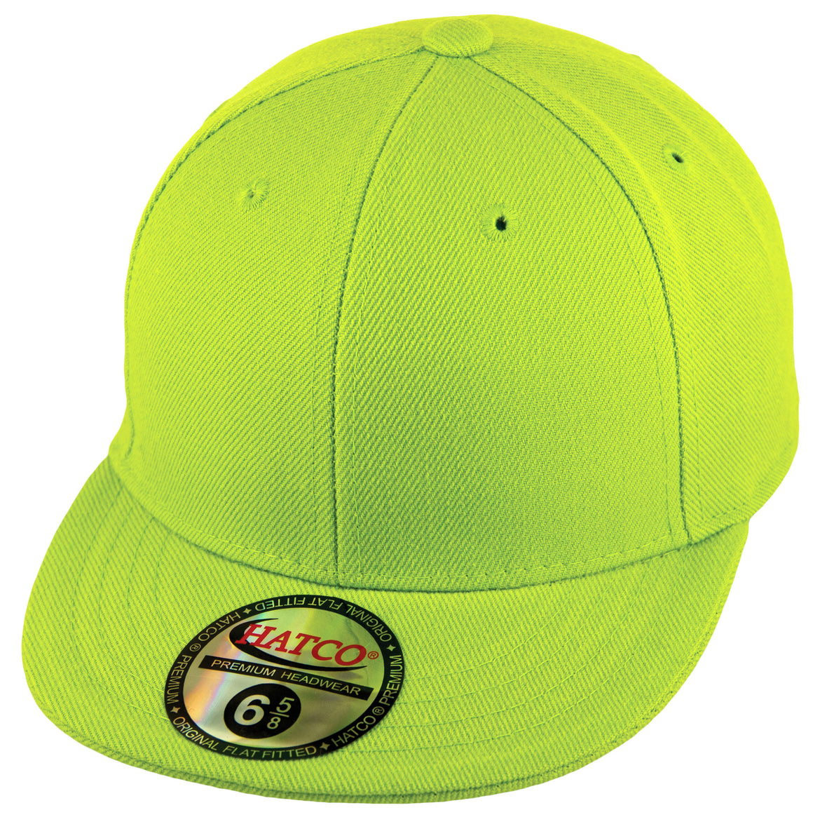 Blank Flat Fitted Cap - Kids - Lime - HATCOcaps.com