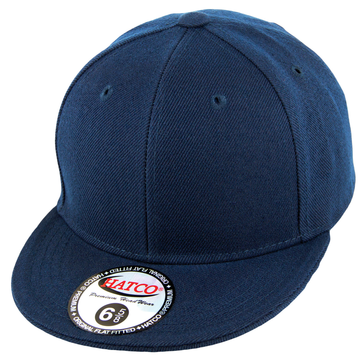 Blank Flat Fitted Cap - Kids - Navy - HATCOcaps.com