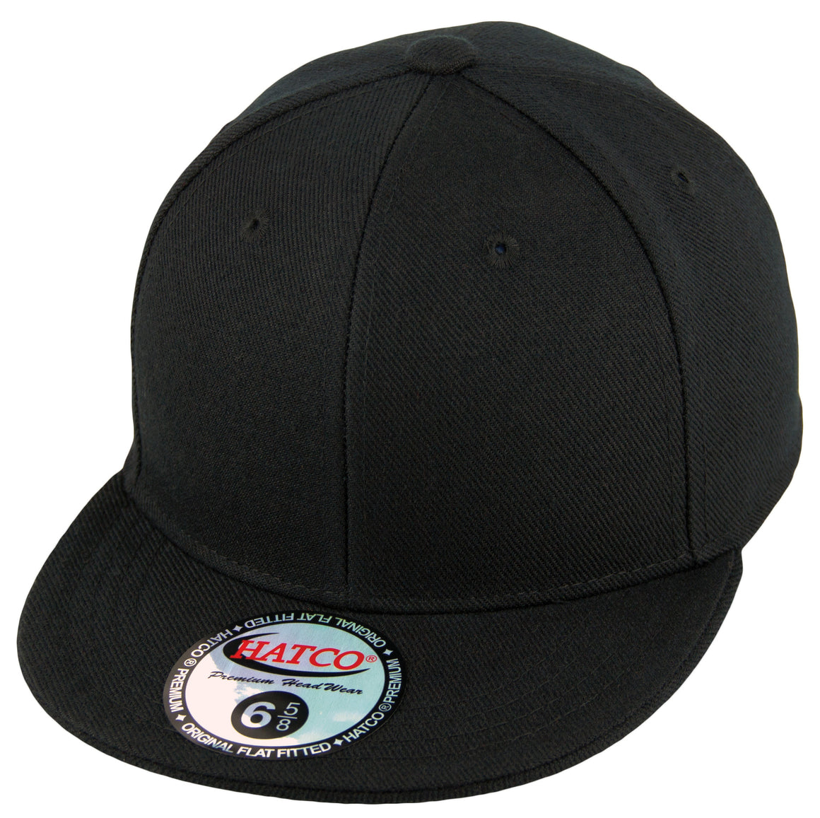 Blank Flat Fitted Cap - Kids - Black - HATCOcaps.com
