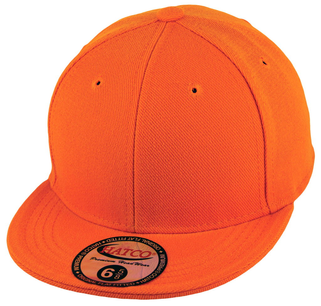Blank Flat Fitted Cap - Kids - Orange - HATCOcaps.com